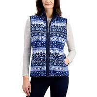 Deals on Karen Scott Petite Fairisle Zeroproof Zip-Front Vest