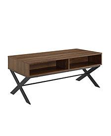 "Walker Edison 42"" X Leg Metal and Wood Coffee Table"