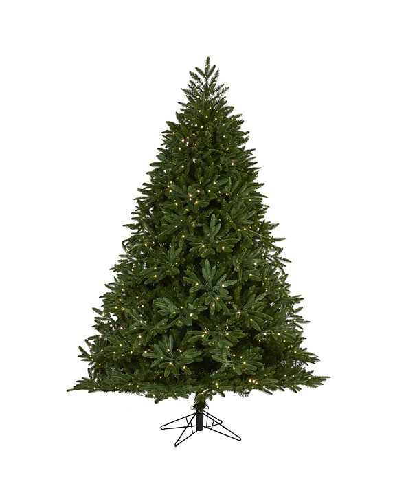 Nearly Natural Oregon Spruce Artificial Christmas Tree with 850 Warm Multifunction Microdot LED Lights with Instant Connect Technology and 1796 Bendable Branches