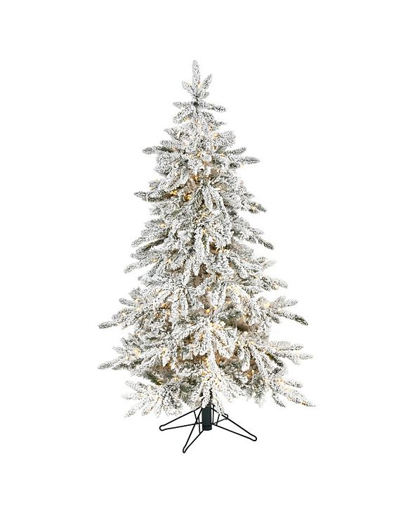 Nearly Natural Flocked Grand Northern Rocky Fir Artificial Christmas Tree with 650 Warm Micro Multifunction with Remote Control LED Lights, Instant Connect Technology and 386 Bendable Branches