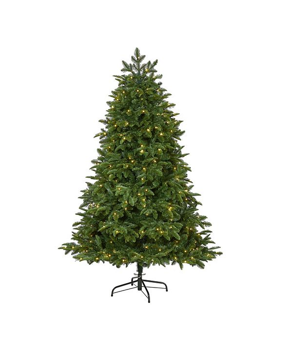Nearly Natural Wyoming Fir Artificial Christmas Tree with 350 Clear LED Lights and 844 Bendable Branches