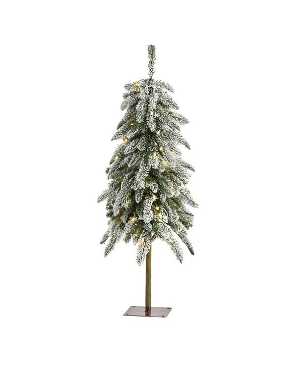 Nearly Natural 3.Flocked Washington Alpine Christmas Tree with 50 Warm LED Lights and 168 Bendable Branches