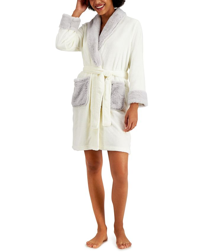 Charter Club - Short Robe With Faux-Fur Trim