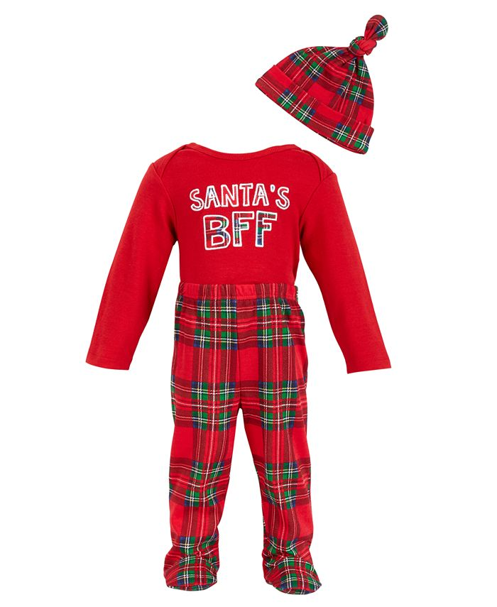 Chickpea - Chick Pea Baby Boy  3pc Long Sleeve Bodysuit, Footed Pant, Hat Set - Red Royal Stewart Plaid Footed Pant with Red Long Sleeve Bodysuit with Santa's BFF graphic and Red Knotted Hat.