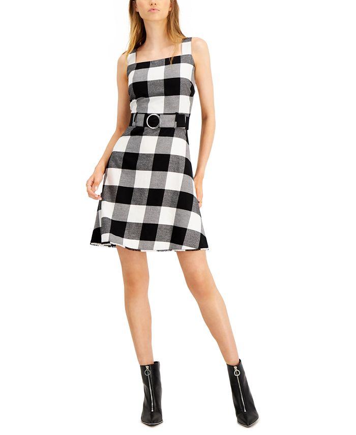 Bar III - Buffalo-Check Belted Mini Dress