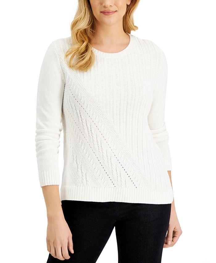 Karen Scott - Long-Sleeve Asymmetrical Cable Sweater