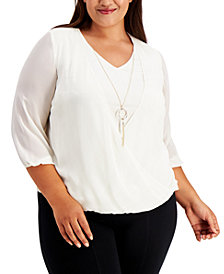 JM Collection Plus Size Surplice Necklace Top, Created for Macy's
