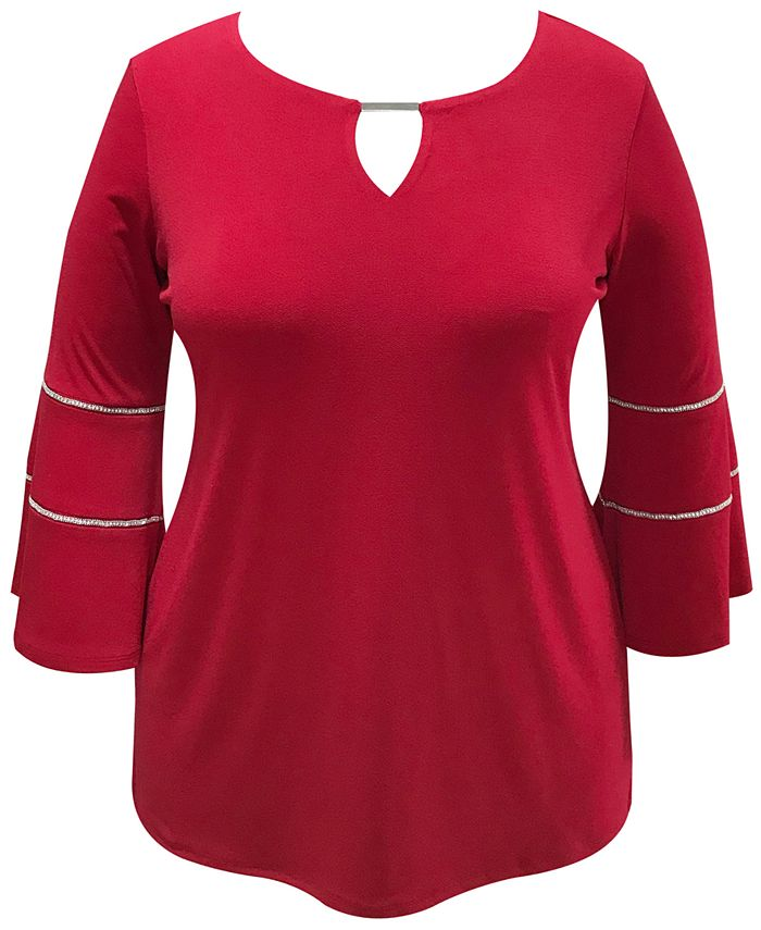 JM Collection - Plus Size Bell-Sleeve Keyhole Top