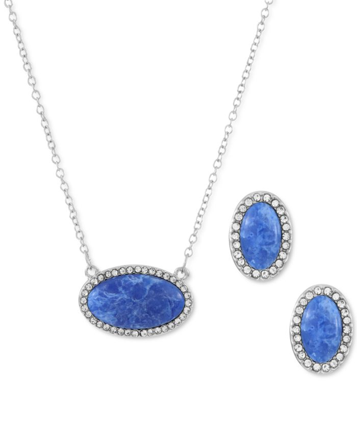 Alfani Pavé & Marbelized Stone Pendant Necklace & Stud Earrings Set, Created for Macy's & Reviews - Necklaces - Jewelry & Watches - Macy's