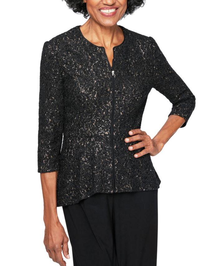 Alex Evenings 3/4-Sleeve Peplum-Hem Zip Jacket   & Reviews - Jackets & Blazers - Women - Macy's