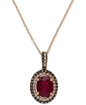 Red Velvet by Effy Ruby (1-1/2 ct. t.w.) and Diamond (1/4 ct. t.w.) Oval Pendant in 14k Rose Gold