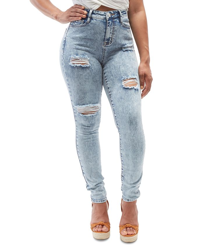 Dollhouse - Juniors Acid Wash Curvy Fit Distressed Jeans