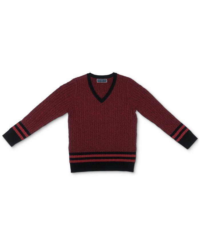 Karen Scott - Tina Striped Cable-Knit V-Neck Sweater