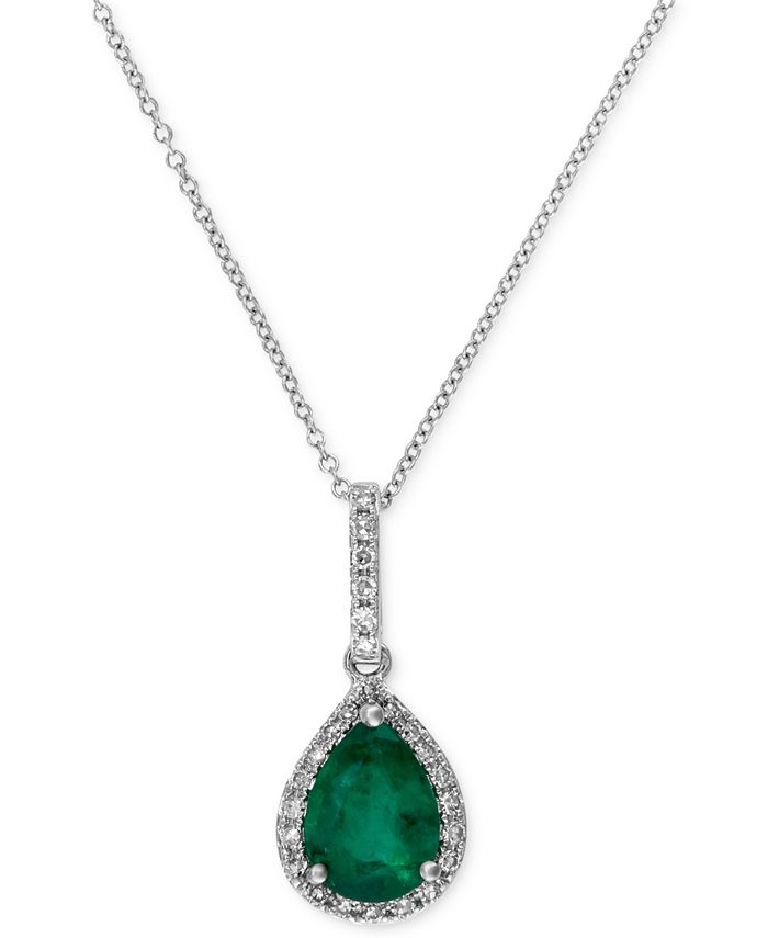 EFFY Collection - Emerald (9/10 ct. t.w.) and Diamond (1/8 ct. t.w.) Drop Pendant in 14k White Gold