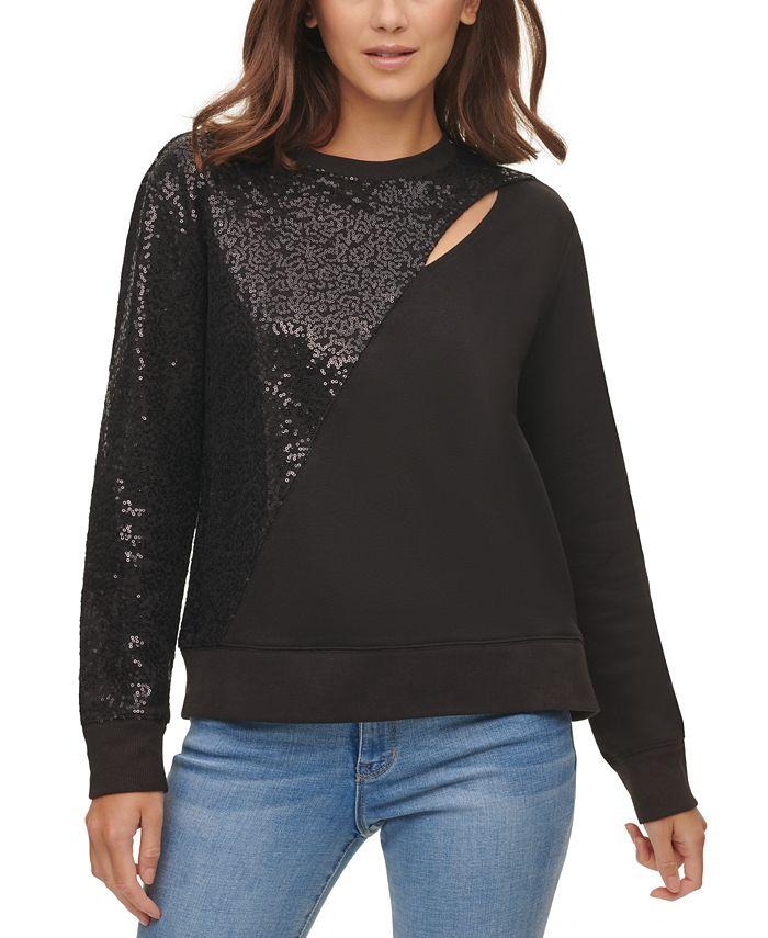 DKNY - Sequin-Embellished Keyhole Sweater
