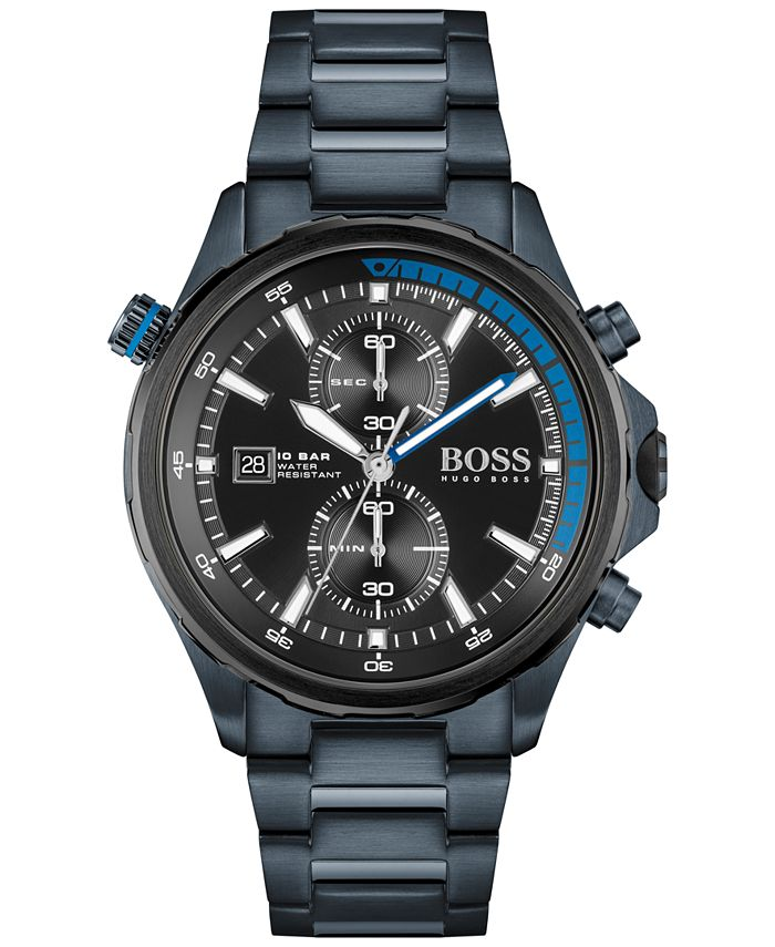 BOSS - Men's Globetrotter Chronograph Blue Stainless Steel Bracelet Watch 46mm