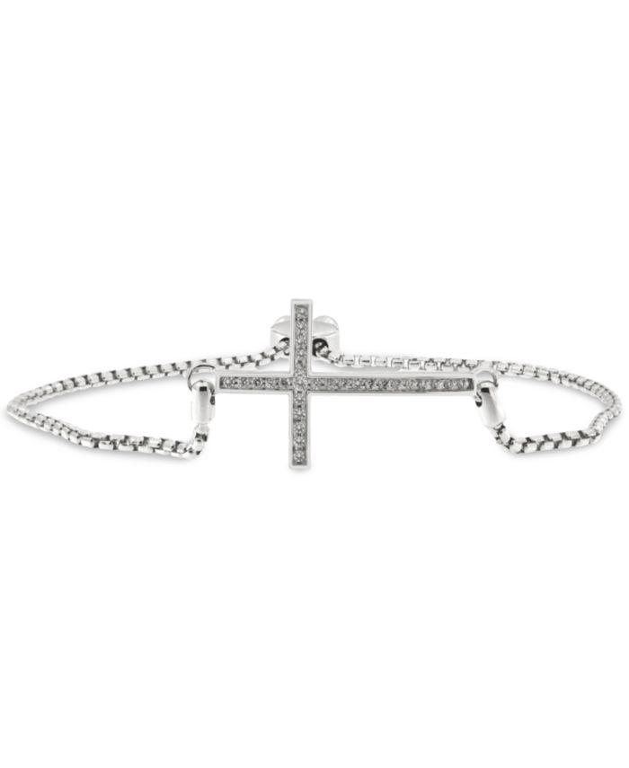 Macy's Diamond East-West Cross Bolo Bracelet (1/4 ct. t.w.) in Sterling Silver & Reviews - Bracelets - Jewelry & Watches - Macy's