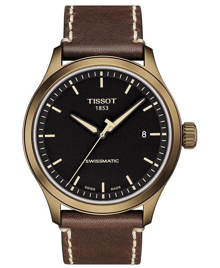Tissot - Men's Swiss Automatic Gent XL Swissmatic Brown Leather Strap Watch 43mm