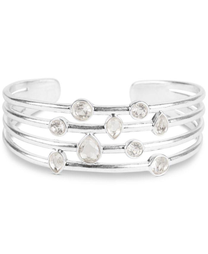 Lucky Brand Silver-Tone Crystal Multi-Row Cuff Bracelet & Reviews - Bracelets - Jewelry & Watches - Macy's