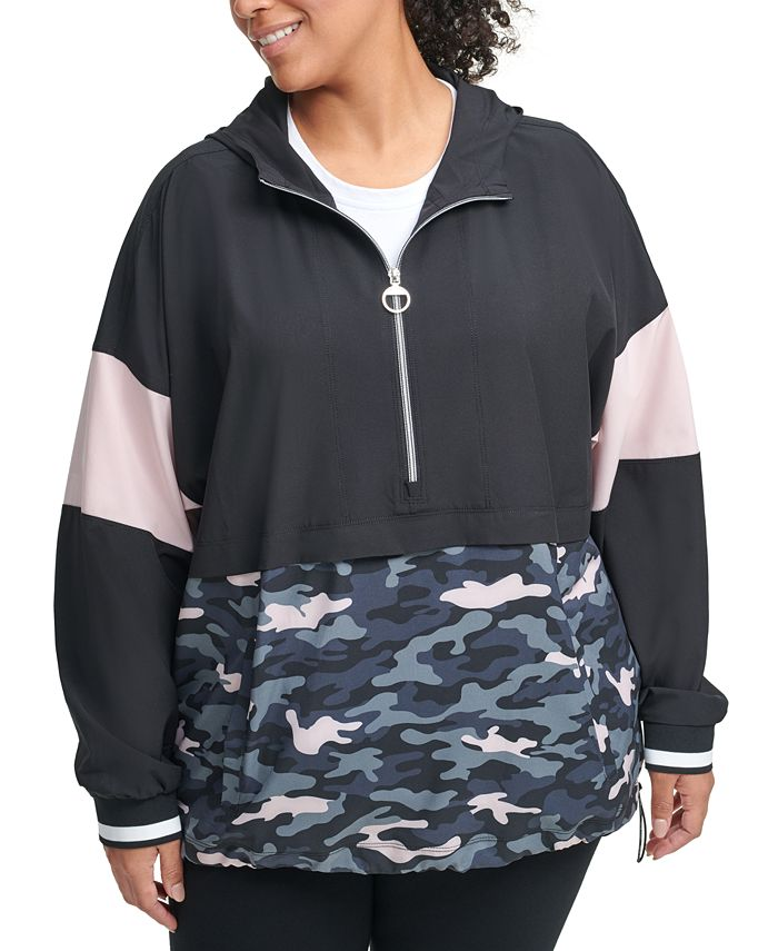 Calvin Klein - Plus Size Colorblocked Half-Zip Hoodie