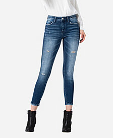 FLYING MONKEY Women's Mid Rise Distressed Skinny Ankle Jeans
