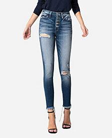 VERVET Women's High Rise Button Up Fray Hem Skinny Crop Jeans