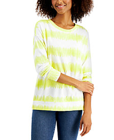 Style & Co Tie-Dyed Stripe Sweatshirt, Created for Macy's