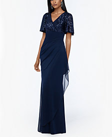 XSCAPE Sequined-Top Ruched Gown