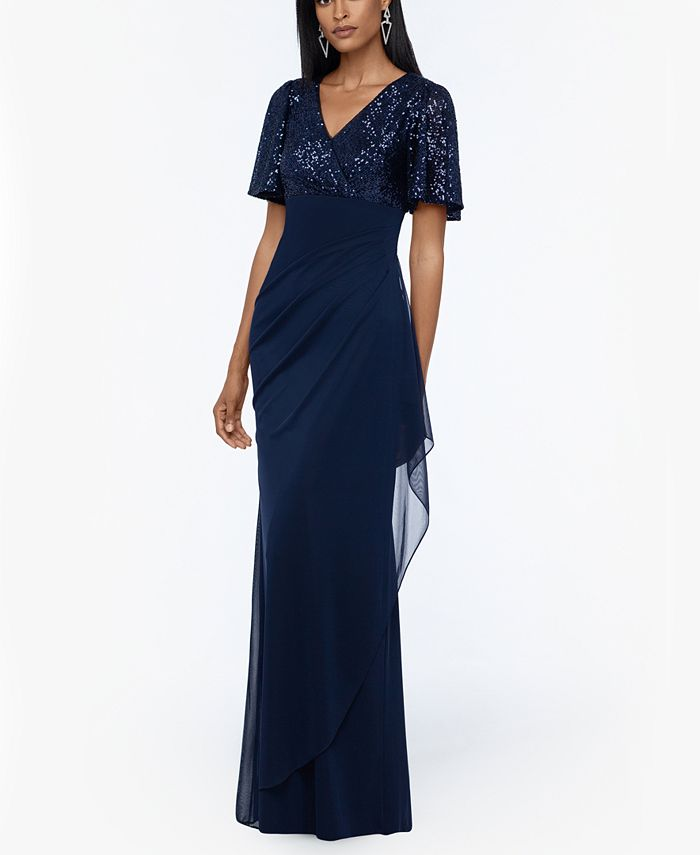 XSCAPE - Sequined-Top Ruched Gown