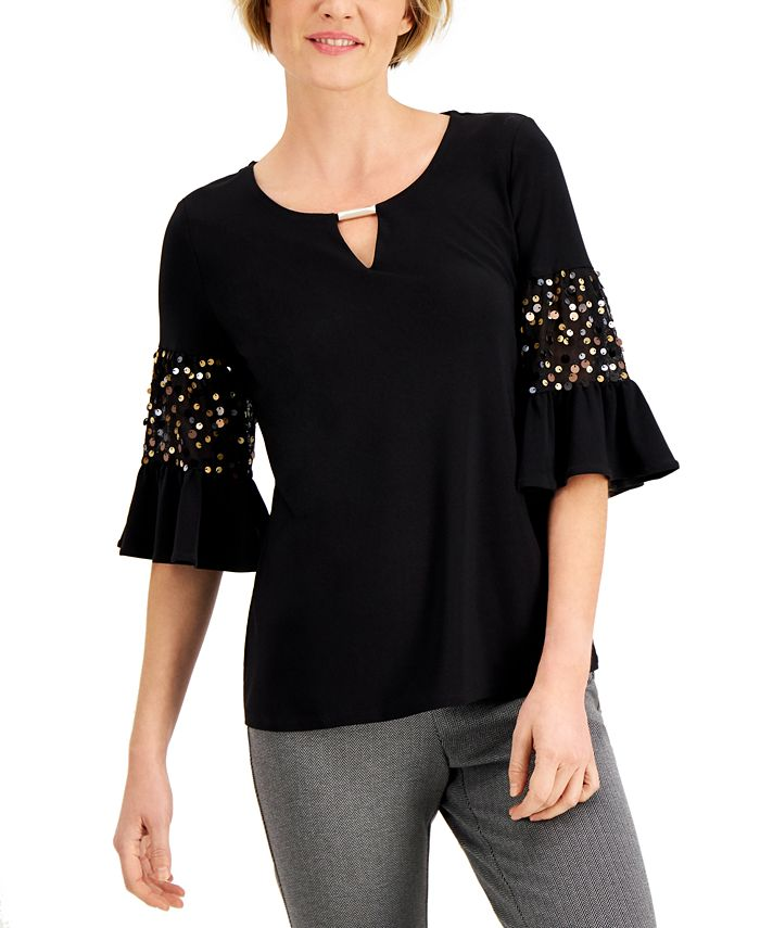 JM Collection - Embellished Bell-Sleeve Top