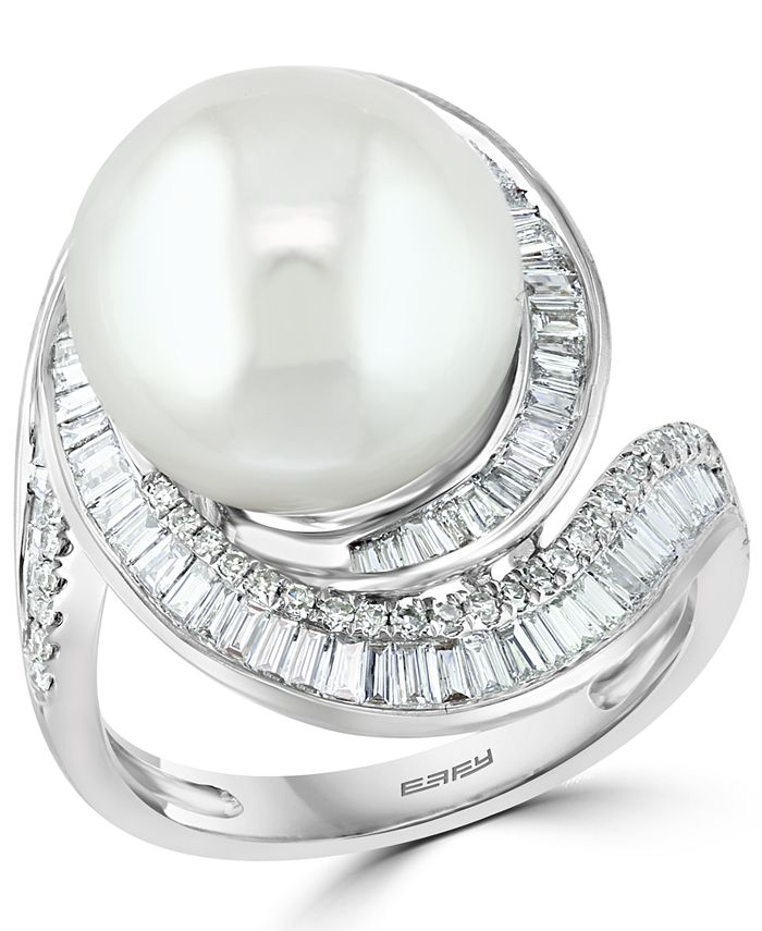 EFFY Collection - Cultured Freshwater Pearl (12-1/2mm) & Diamond (3/4 ct. t.w.) Ring in 14k White Gold
