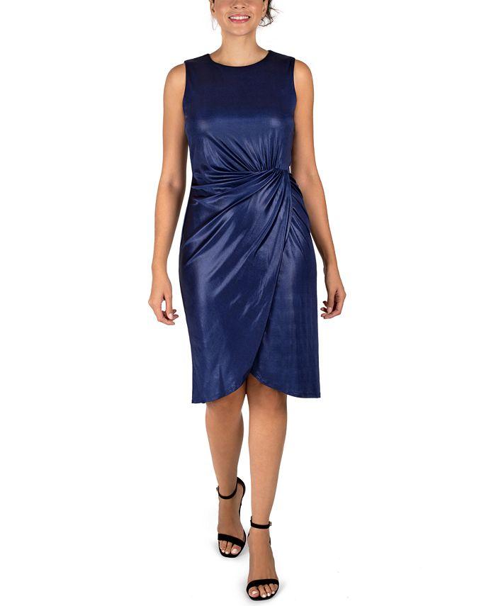 Donna Ricco - Liquid Jersey Twist-Knot Sheath Dress
