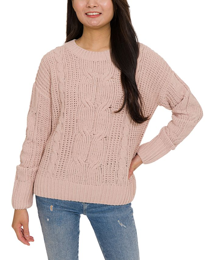 Hippie Rose - Juniors' Mixed-Knit Chenille Sweater