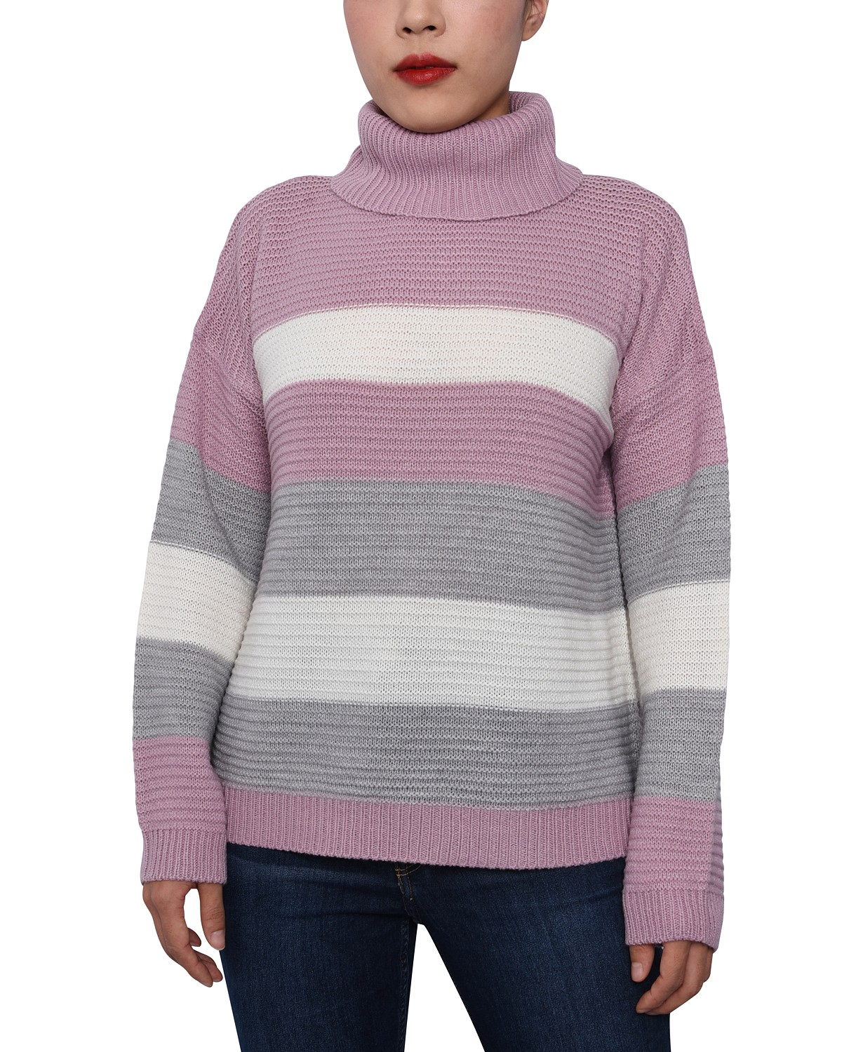 Macy's: Juniors' Striped Cowl-Neck Sweater  $5.36 (80% off)