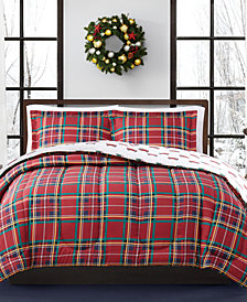 Holiday Tartan Reversible Comforter Sets, Created for Macy's
