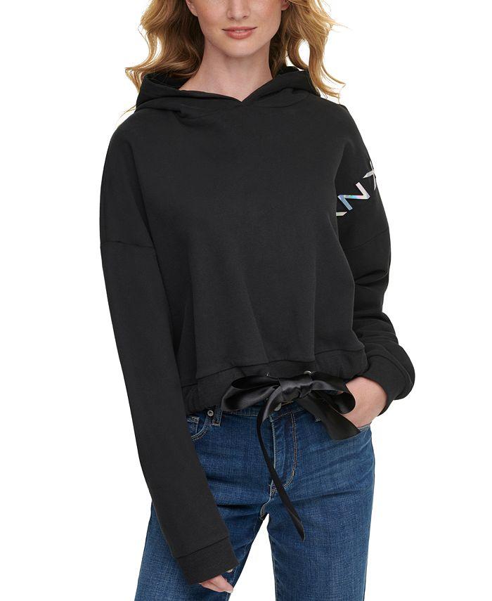 DKNY Jeans - Hologram-Logo Satin-Tie-Hem Hoodie