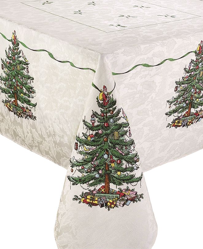 Spode Christmas Tree Ivory/Green 60x102 Tablecloth