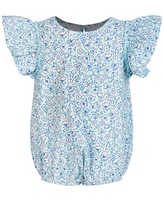 First Impressions - Baby Girls Ruffled Cotton Bodysuit