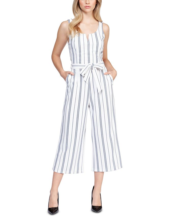 Black Tape - Striped Stretch Belted Cropped Jumpsuit
