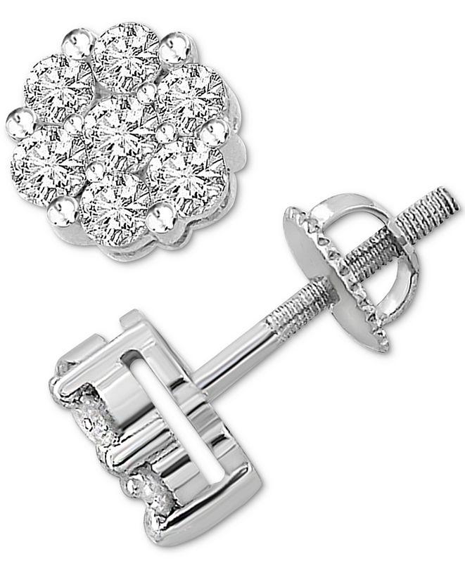 Macy's Diamond Cluster Stud Earrings (1 ct. t.w.) in Sterling Silver