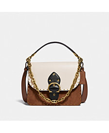COACH Colorblock Mixed Leather Beat Shoulder Bag With Rivets