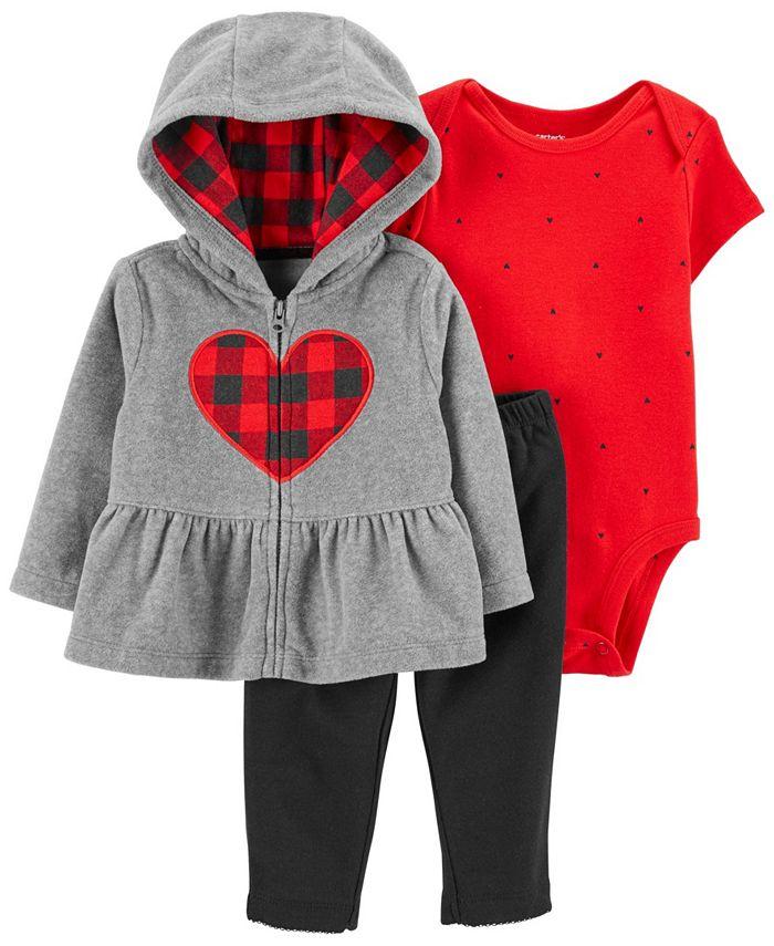 Carter's - Carters Baby Girl Buffalo Check 3-PC Fleece Jacket Set