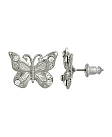 2028 Women's Silver Tone and Crystal Accent Butterfly Post Earrings