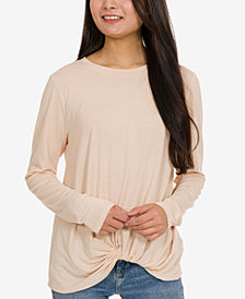 Hippie Rose Juniors' Marled Twist-Front Top