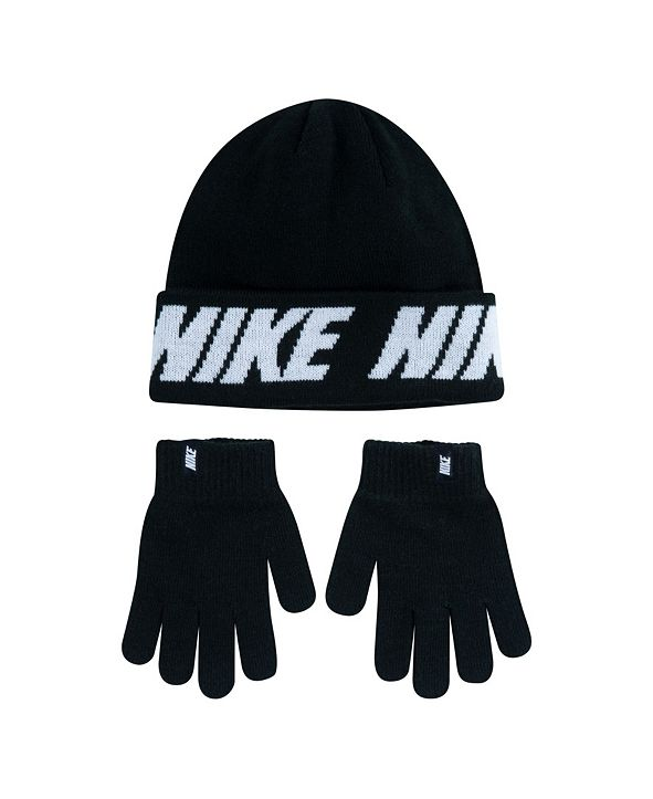 Nike Big Boys Pom Beanie and Gloves Set