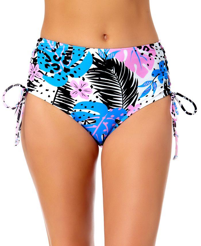 California Waves - Juniors Floral-Print Lace-Up Bikini Bottoms