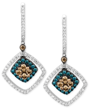 Le Vian 14k White Gold Chocolate and White Diamond (9/10 ct. t.w.) and Blue Diamond Accent Drop Earrings
