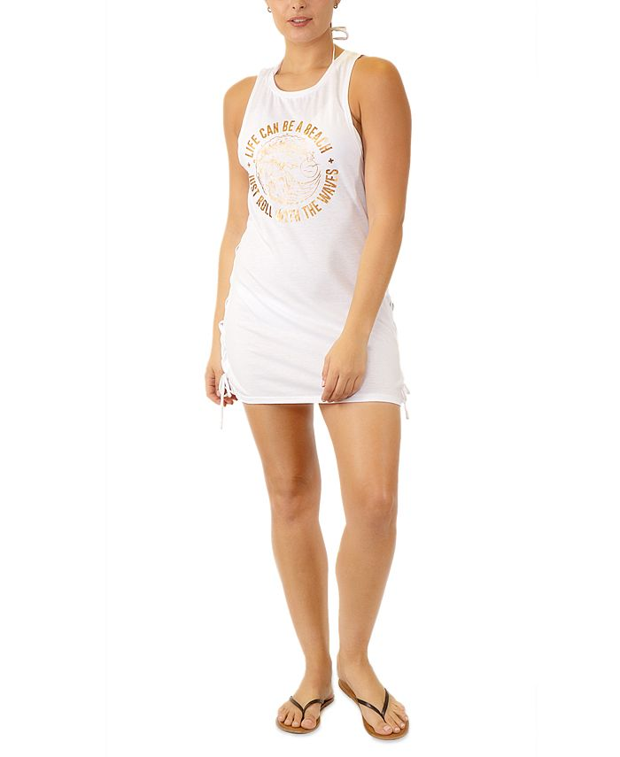 Miken - Juniors' Graphic Lace-Up-Detail Cover-Up