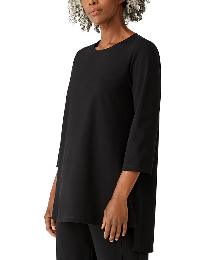 Eileen Fisher - Jewel-Neck Asymmetrical Tunic Top