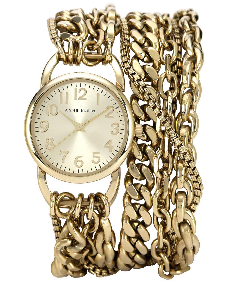 Anne Klein Womens Gold Tone Wrap Chain Bracelet Watch 31mm AK 1452CHGB   Watches   Jewelry & Watches